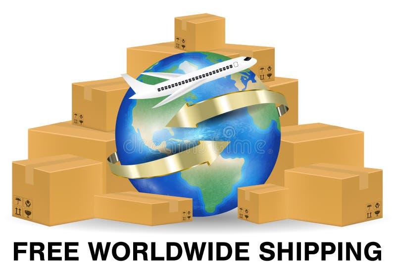 Caja del paquete de Brown con el aeroplano que envía en todo el mundo libre illustration