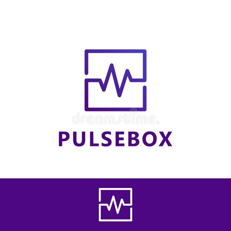 Caja del pulso, caja de la onda Plantilla del logotipo del vector ilustración del vector