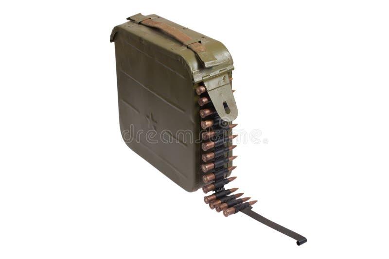 Caja del punto negro de la munición con el encadenamiento de la munición imagen de archivo