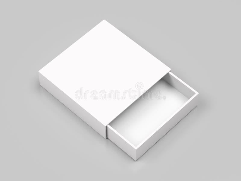 Caja del resbalador Mofa abierta en blanco blanca de la caja para arriba en fondo gris ilustraci?n de la representaci?n 3d ilustración del vector