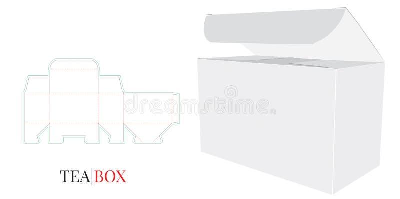 Caja del té, ejemplo de papel abierto de la caja del té El vector con cortado con tintas/el laser cortó capas stock de ilustración
