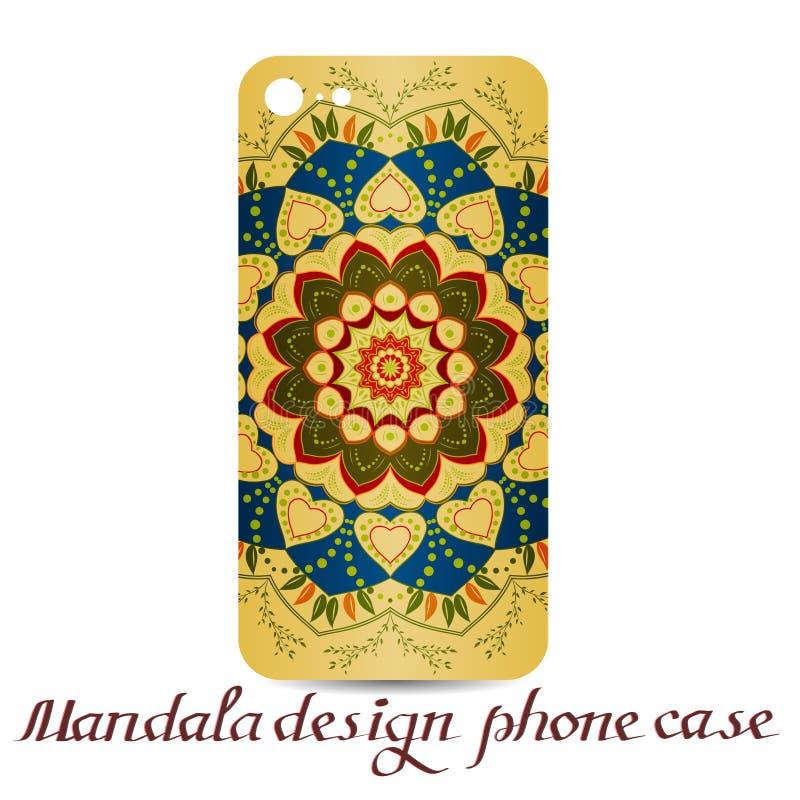 Caja del teléfono del diseño de la mandala Elementos decorativos ilustración del vector