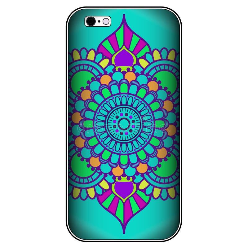 Caja del teléfono o elementos decorativos en indio del mehndi, estilo árabe del vintage de la cubierta del smartphone ilustración del vector