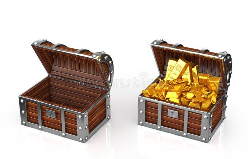 Caja del tesoro stock de ilustración