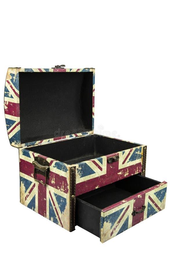 Caja del vintage con el aislante británico de la bandera en el fondo blanco con la trayectoria de recortes imagen de archivo libre de regalías