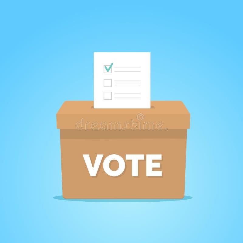 Caja del voto del d?a de elecci?n presidencial Lista de control en caja del voto en fondo azul libre illustration