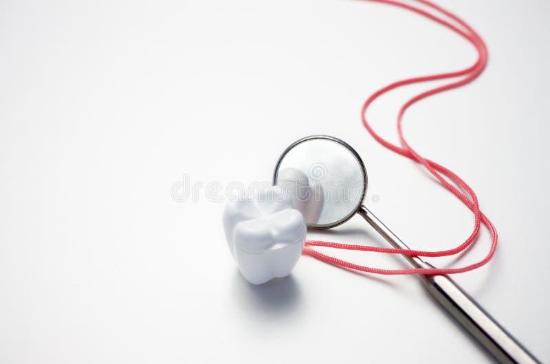 Caja dental del espejo y del diente en el fondo blanco fotos de archivo libres de regalías