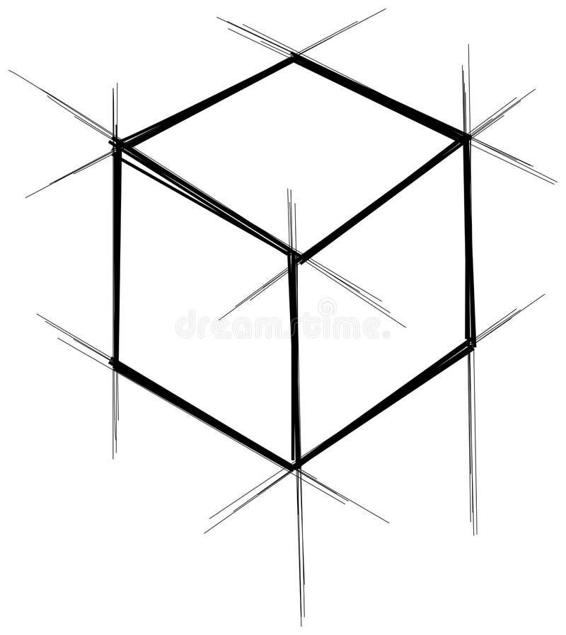 Caja dibujada mano abstracta del modelo del garabato del garabato stock de ilustración