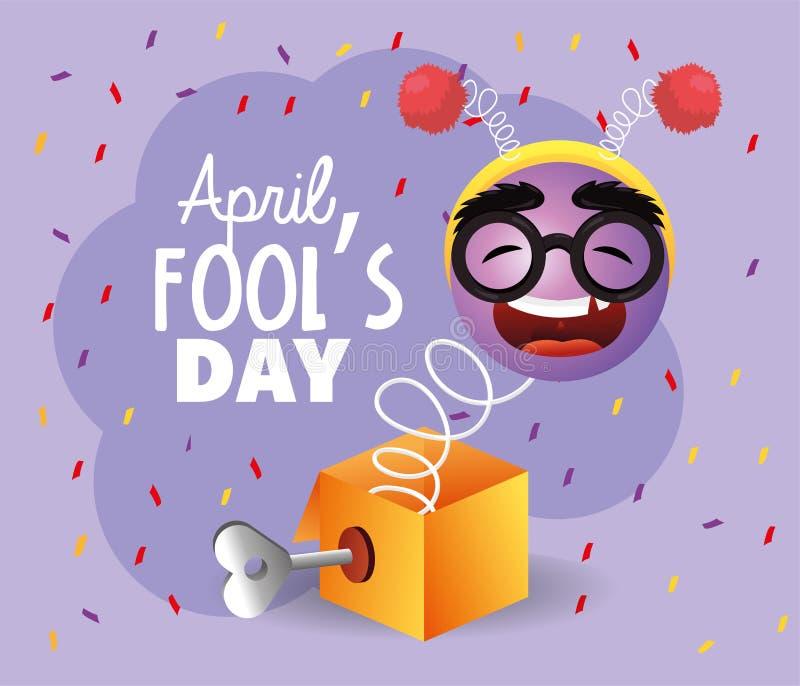 Caja divertida con la cara del emoji y la antena de la diadema libre illustration