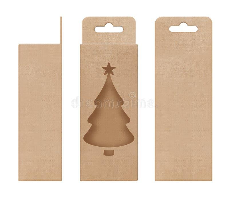 Caja, empaquetando, marrón de la caja para colgar la plantilla en blanco abierta cortada de la forma del árbol de navidad de la v foto de archivo libre de regalías