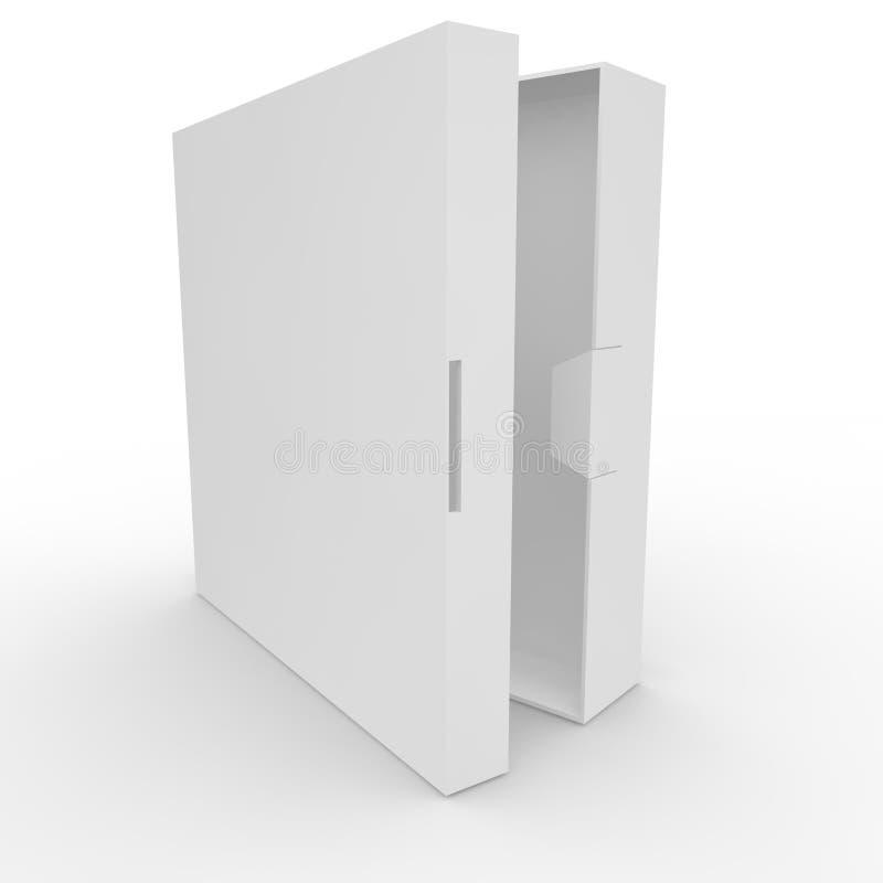 Caja en blanco blanca con el corchete stock de ilustración
