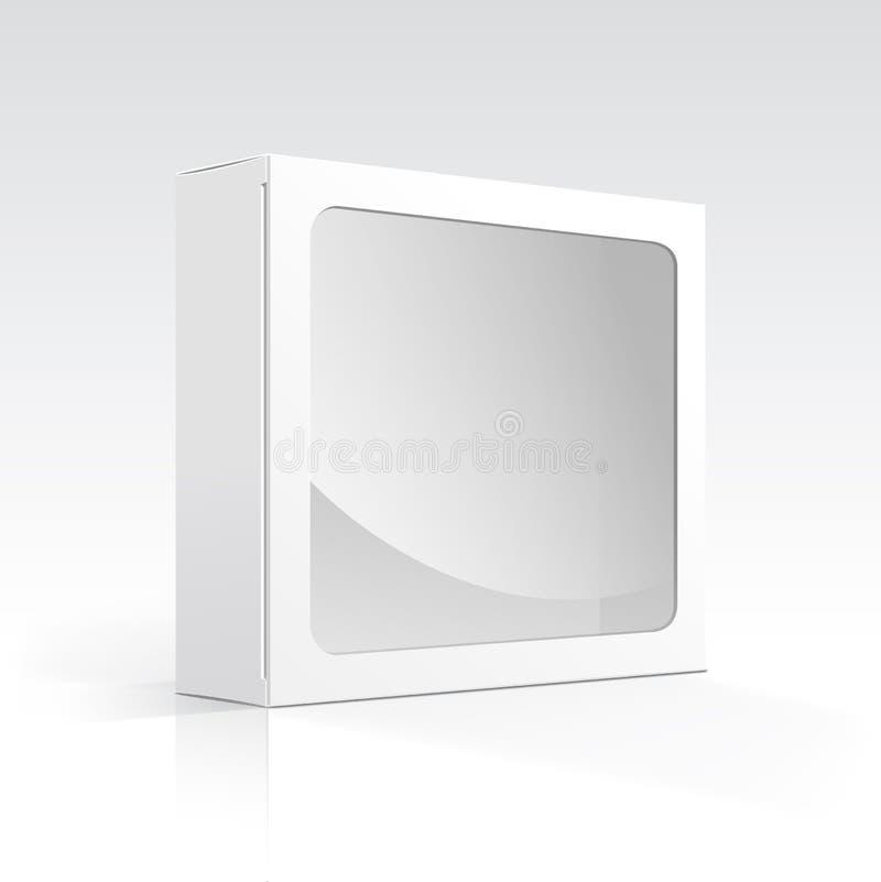 Caja en blanco del vector con la ventana transparente stock de ilustración