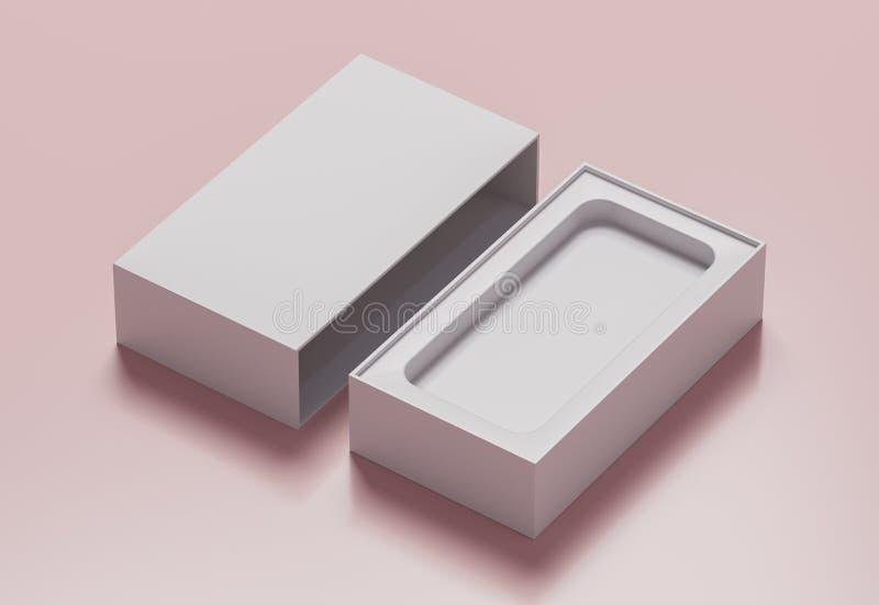 Caja en blanco en un fondo rosado - del teléfono del color blanco ejemplo 3D stock de ilustración
