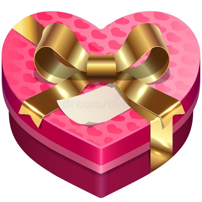Caja en forma de corazón del caramelo del día de tarjeta del día de San Valentín del vector ilustración del vector