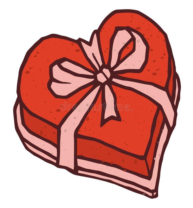 Caja en forma de corazón del regalo del día de tarjetas del día de San Valentín de caramelo con ilustración del vector