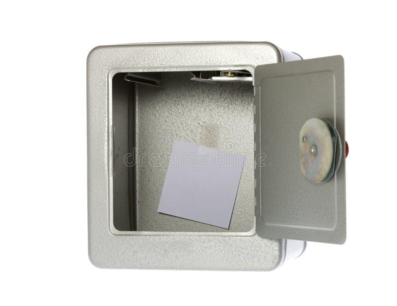Caja fuerte abierta, abierta, vacía con una nota en blanco imagen de archivo libre de regalías
