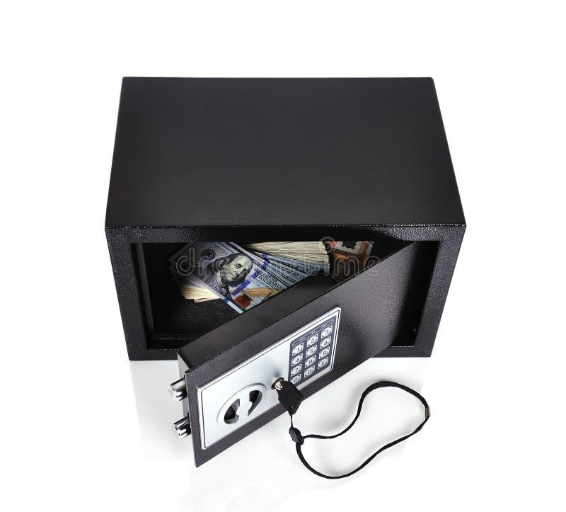 Caja fuerte con el dinero foto de archivo libre de regalías