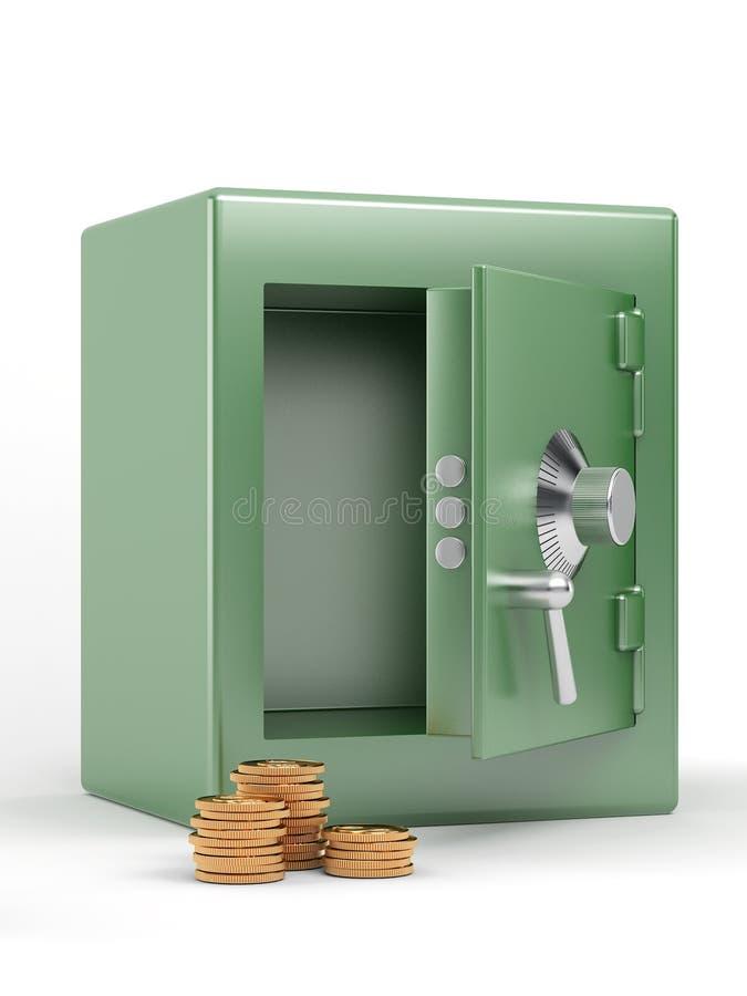 Caja fuerte con las monedas de oro libre illustration