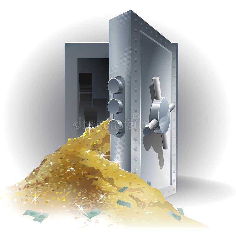 Caja fuerte con oro stock de ilustración