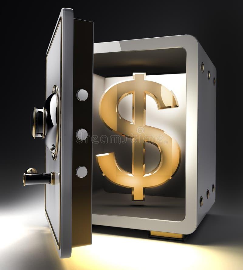 Caja fuerte con símbolo del dólar del oro stock de ilustración