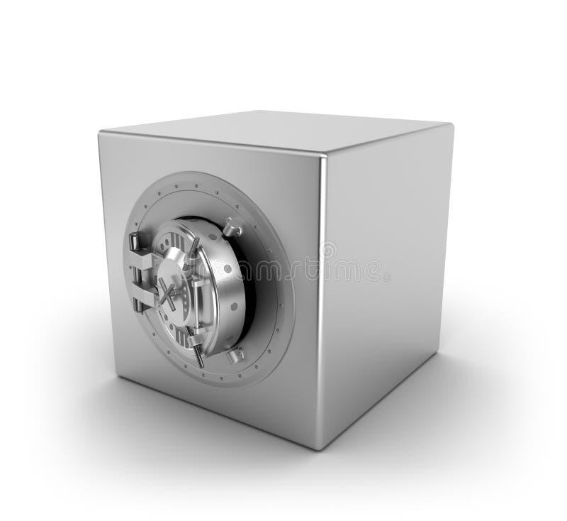 Caja fuerte de la batería sobre blanco stock de ilustración