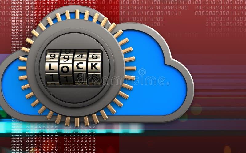 caja fuerte de la puerta de cerradura del código 3d stock de ilustración