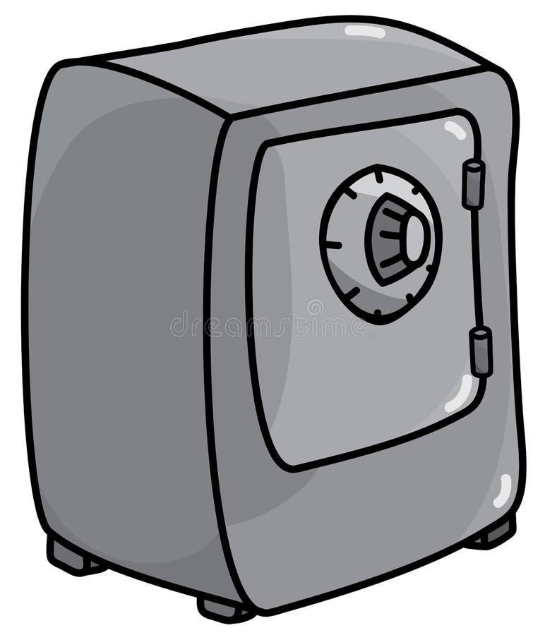 Caja fuerte de metales pesados clásica con las puertas cerradas y cerradura de combinación de la rueda en estilo de la historieta ilustración del vector