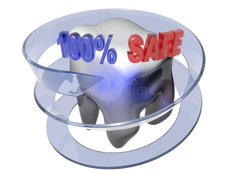 Caja fuerte del 100% - cuidado dental - representación 3D stock de ilustración