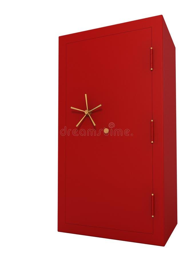 Caja fuerte roja aislada en el fondo blanco (incluya el camino de recortes) imágenes de archivo libres de regalías