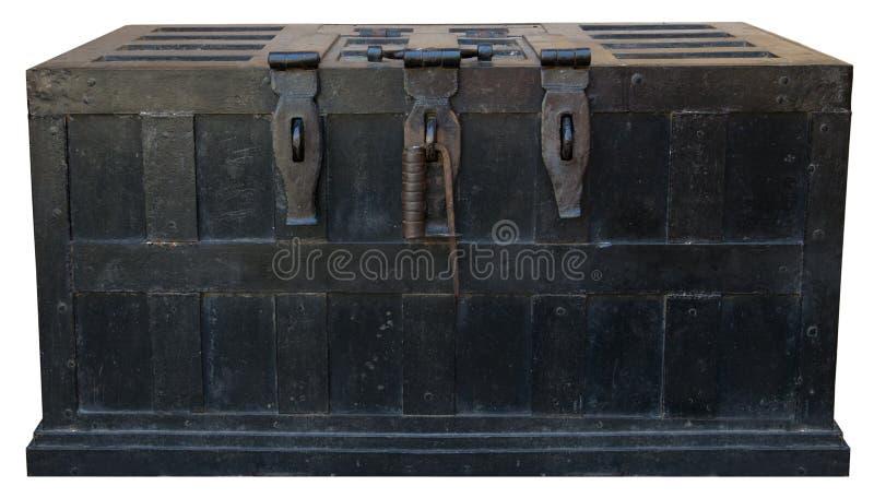 Caja fuerte vieja del hierro del cofre del tesoro del pirata del vintage fotografía de archivo libre de regalías