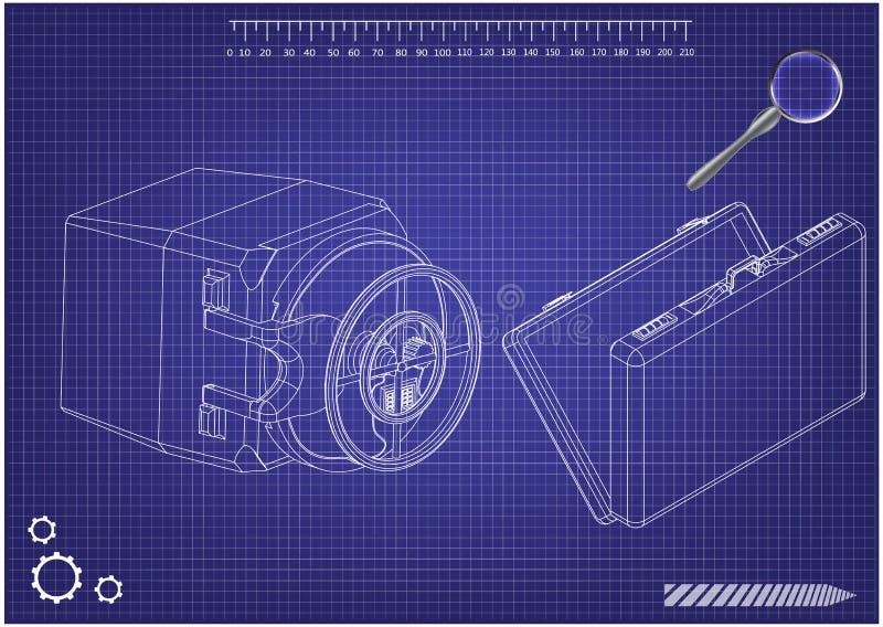 Caja fuerte y caso en un azul ilustración del vector
