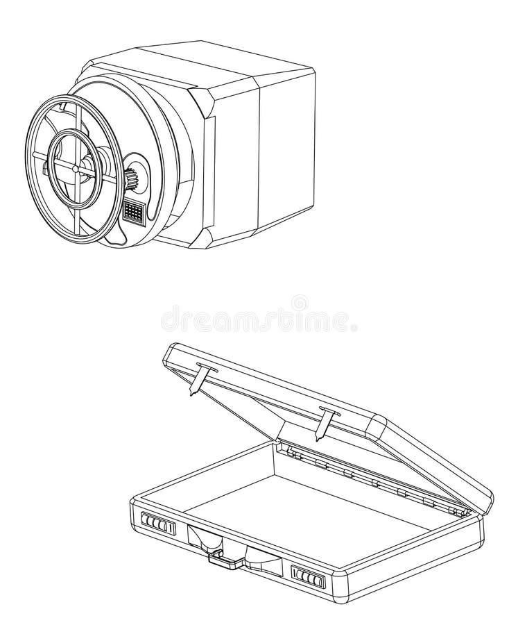 Caja fuerte y caso en un blanco ilustración del vector