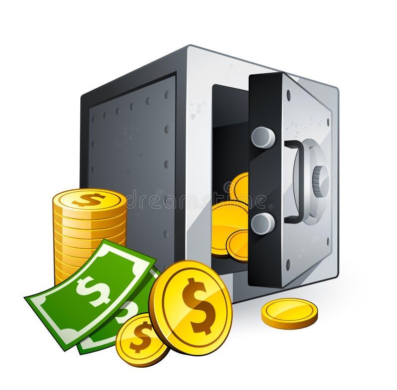 Caja fuerte y dinero ilustración del vector