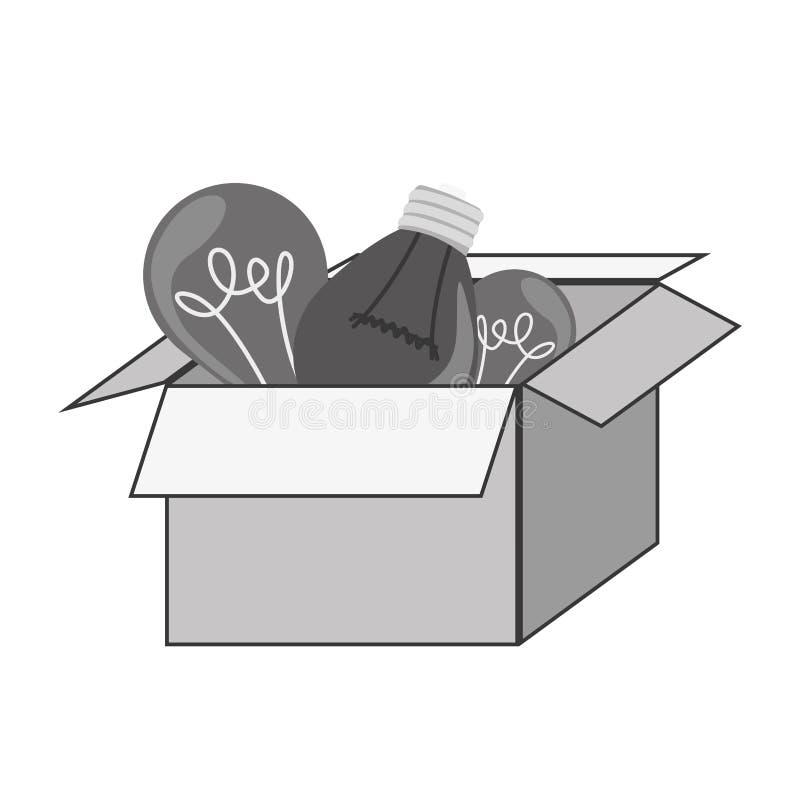 caja gris del arte de la silueta con los bulbos stock de ilustración