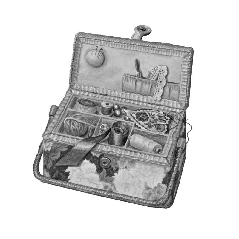 Caja hermosa con costura Vintage a mano libre illustration