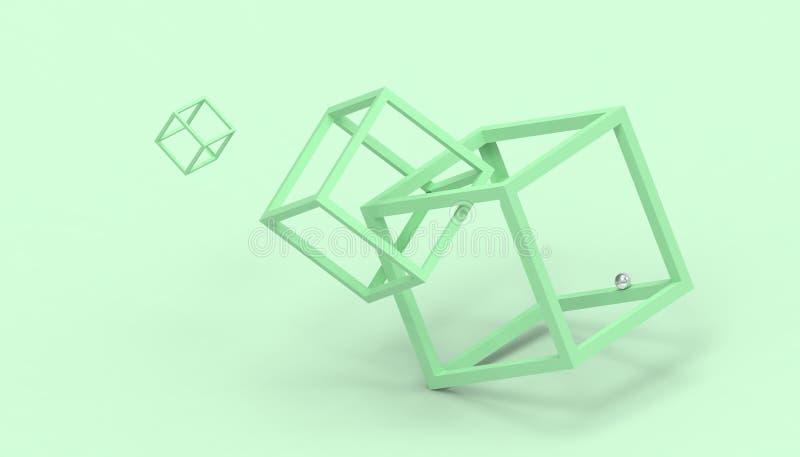 Caja imposible de las formas de la ilusión en verde libre illustration