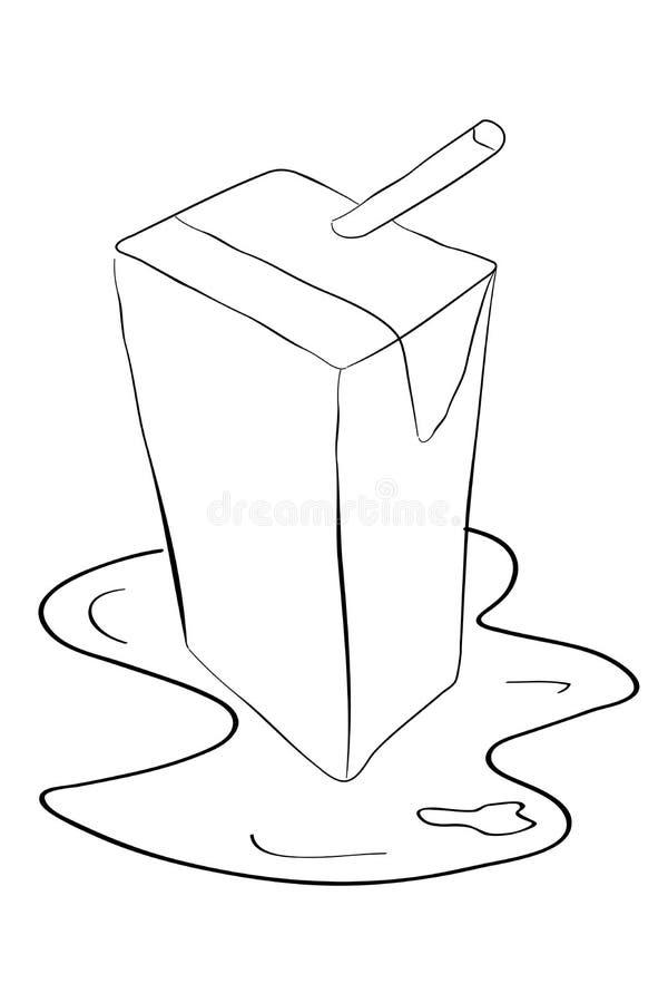 CAJA incompleta del UHT altísima temperatura con agua del derramamiento stock de ilustración