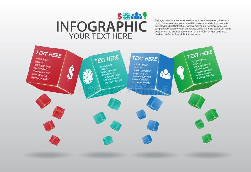 Caja Infographics del extracto 3d del vector del negocio ilustración del vector