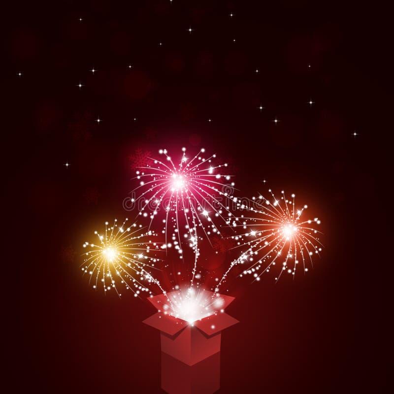 Caja mágica con los fuegos artificiales stock de ilustración