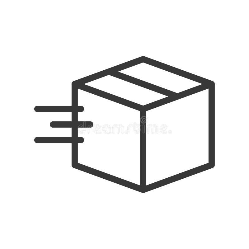 Caja móvil, envío e icono logístico, pixel del diseño del esquema por libre illustration