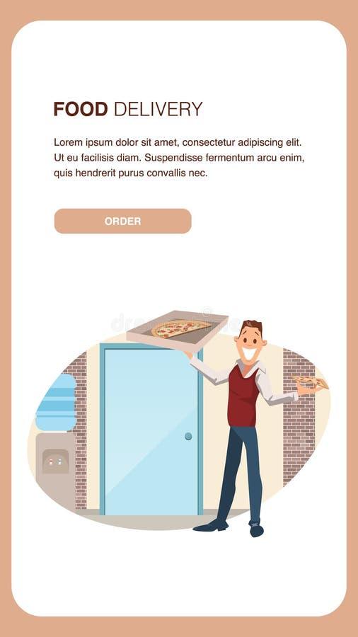 Caja masculina del control del oficinista de la entrega de la pizza stock de ilustración