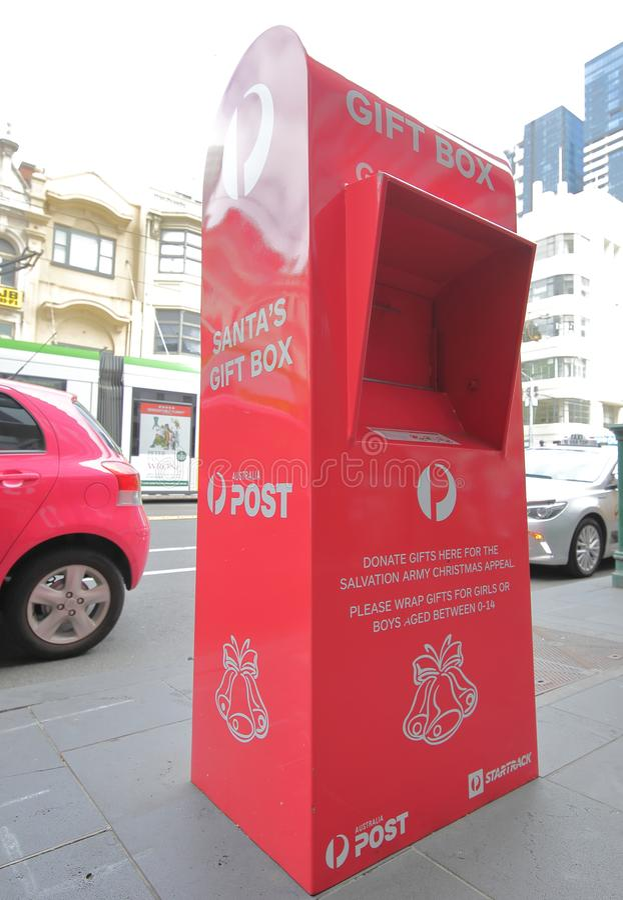 Caja Melbourne Australia de la donación de la caja de regalo de la Navidad del correo de Australia foto de archivo libre de regalías