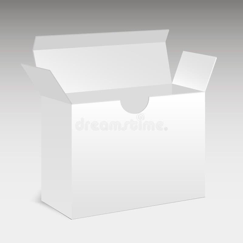 Caja moderna blanca abierta del paquete de programas informáticos Caja de embalaje Vector ilustración del vector