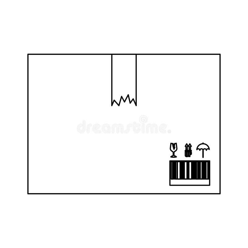 Caja negra de la silueta con la cinta quebrada del embalaje stock de ilustración