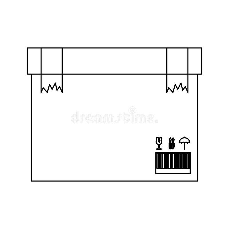 Caja negra de la silueta con la cinta quebrada del embalaje dos ilustración del vector