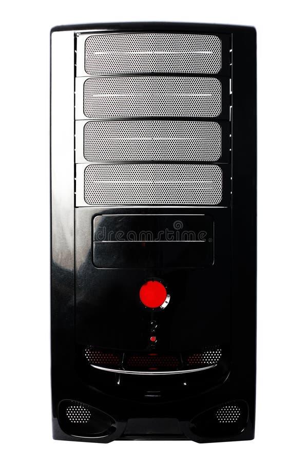 Caja negra del ordenador aislada en blanco imagen de archivo libre de regalías