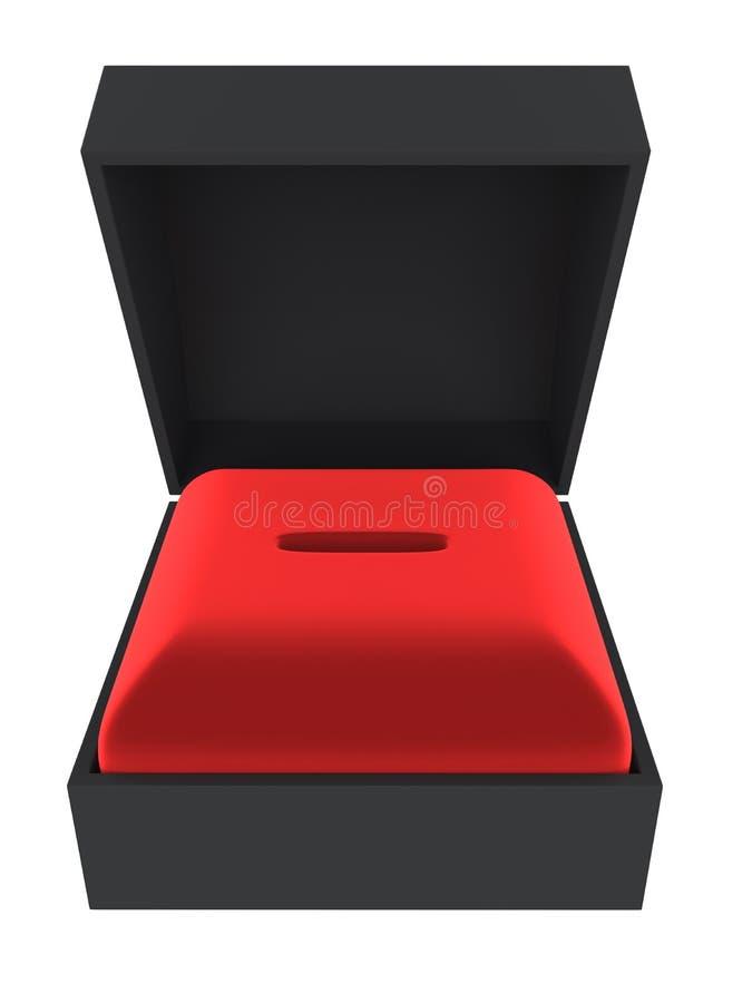Caja negra del presente del anillo con el tenedor rojo del terciopelo libre illustration