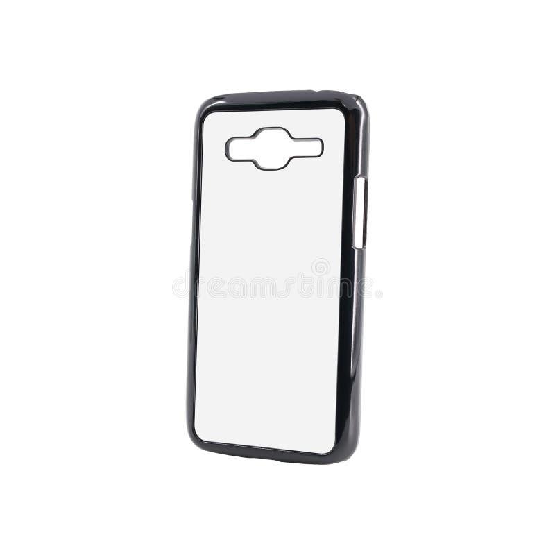 Caja negra del smartphone en fondo aislado con la trayectoria de recortes Mofa móvil en blanco para arriba o protector para el di imágenes de archivo libres de regalías
