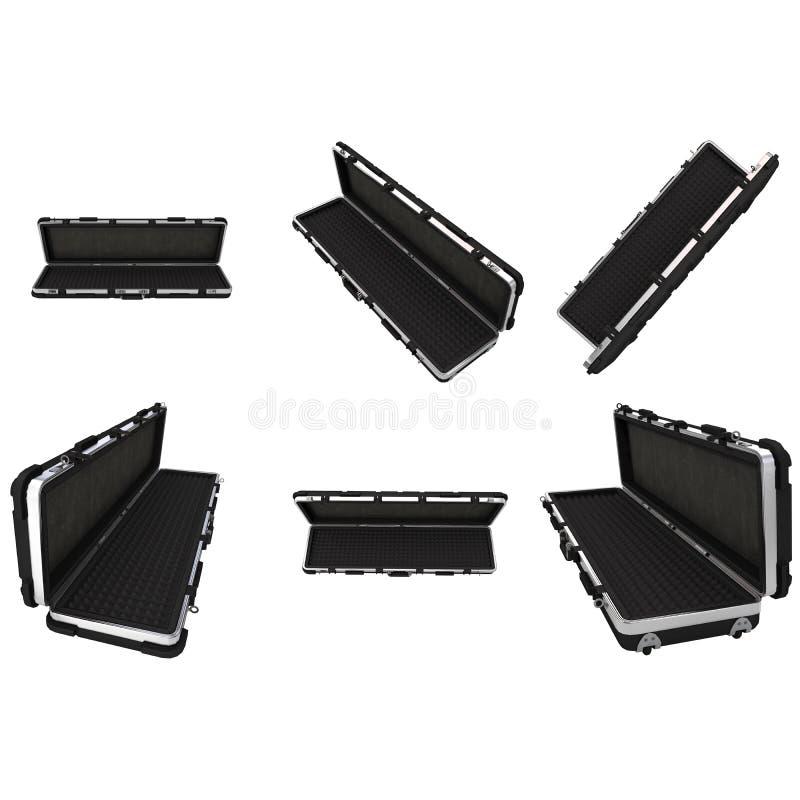 Caja negra militar para el rifle en fondo blanco aislado ilustración 3D stock de ilustración
