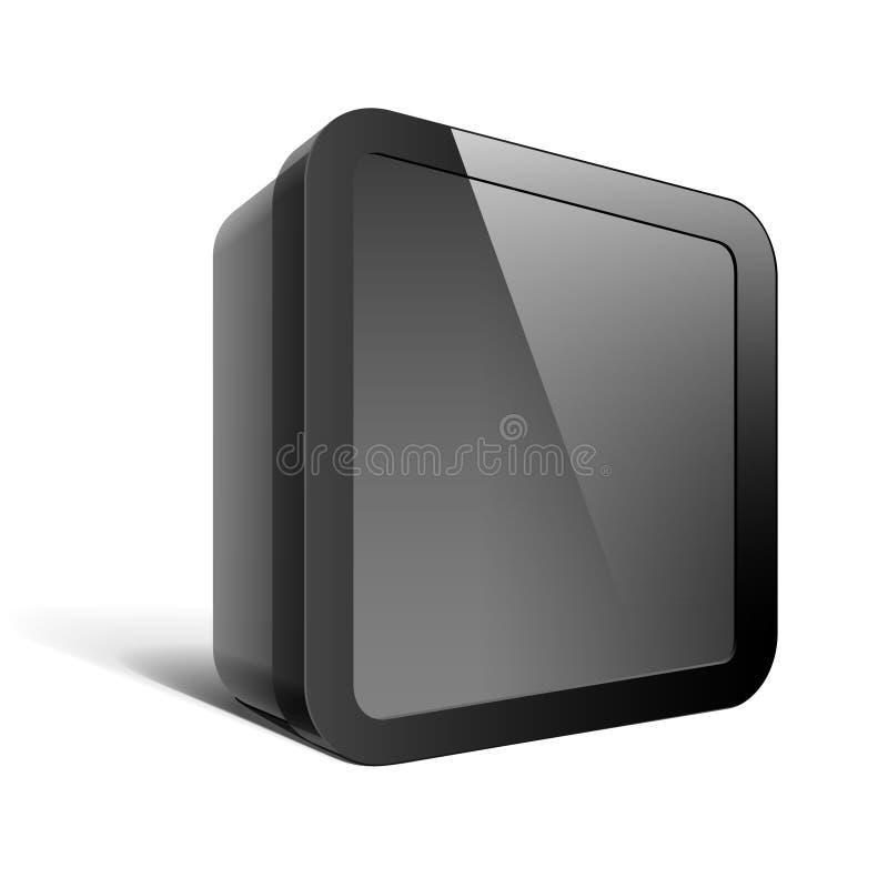 Caja negra realista del paquete. Forma cuadrada libre illustration